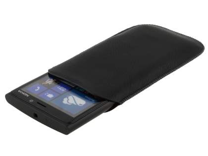 Synthetic Leather Slide-in Case with Pull-out Strap for Nokia Lumia 920  - Classic Black