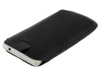 Synthetic Leather Slide-in Case with Pull-out Strap for Sony Xperia TX LT29i - Classic Black