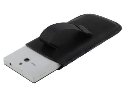 Synthetic Leather Slide-in Case with Pull-out Strap for Sony Xperia U ST25i - Classic Black