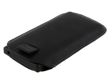 Synthetic Leather Slide-in Case with Pull-out Strap for Sony Xperia Sola MT27i - Classic Black