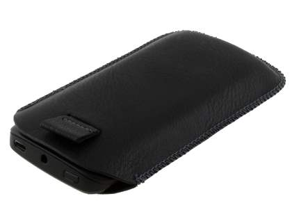 Synthetic Leather Slide-in Case with Pull-out Strap for Nokia Lumia 710 - Classic Black