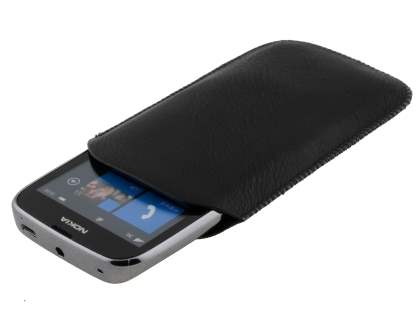Synthetic Leather Slide-in Case with Pull-out Strap for Nokia Lumia 610 - Classic Black