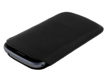 Synthetic Leather Slide-in Case with Pull-out Strap for Samsung Galaxy Trend Plus S7583T / S Duos S7562 - Classic Black