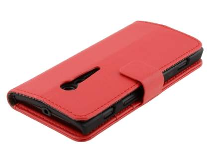 Synthetic Leather Wallet Case with Stand for Sony Xperia ion LTE lt28i - Red