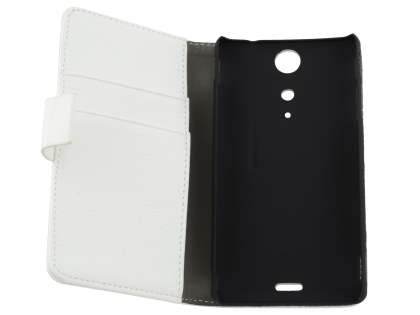 Sony Xperia TX LT29i Slim Synthetic Leather Wallet Case with Stand - Pearl White