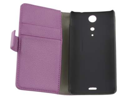 Sony Xperia TX LT29i Slim Synthetic Leather Wallet Case with Stand - Purple