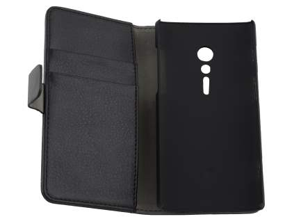 Sony Xperia ion LTE lt28i Slim Synthetic Leather Wallet Case with Stand - Classic Black