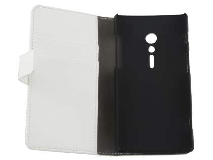 Sony Xperia ion LTE lt28i Slim Synthetic Leather Wallet Case with Stand - Pearl White