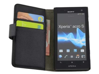 Sony Xperia acro S LT26w Slim Synthetic Leather Wallet Case with Stand - Classic Black