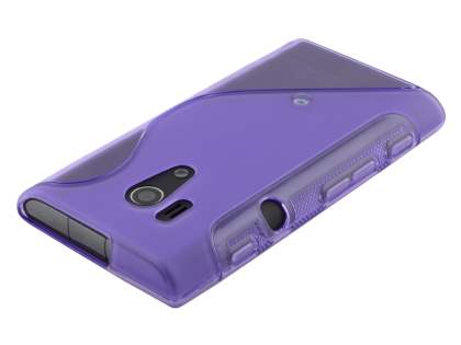 Sony Xperia acro S LT26w Wave Case - Frosted Purple/Purple