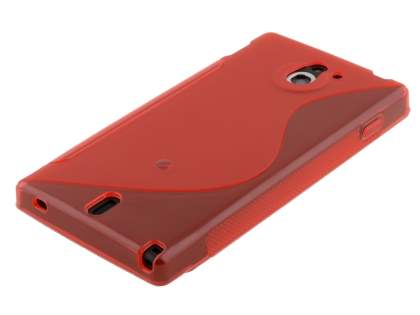 Sony Xperia Sola MT27i Wave Case - Frosted Red/Red