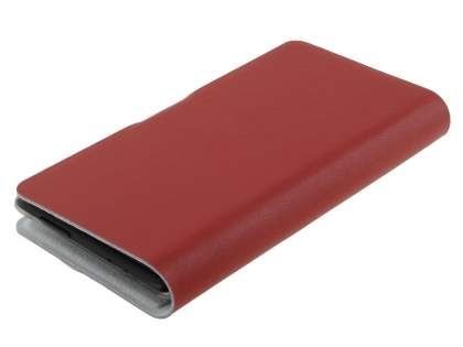 Slim Genuine Leather Portfolio Case for HTC Windows Phone 8X - Red