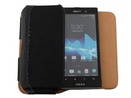 Sony Xperia ion LTE lt28i Synthetic Leather Belt Pouch - Classic Black