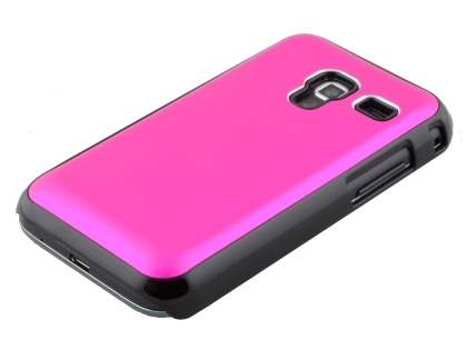 Brushed Aluminium Case for Samsung Galaxy Ace Plus S7500 - Hot Pink/Black