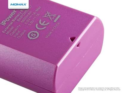 Momax iPower S2 External Battery Recharger with LED Flashlight - Pink