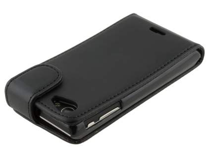 Sony Xperia J ST26i Synthetic Leather Flip Case - Classic Black
