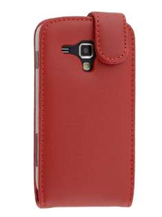 Samsung Galaxy Trend S7560 / S Duos S7562 Genuine Leather Flip Case - Red