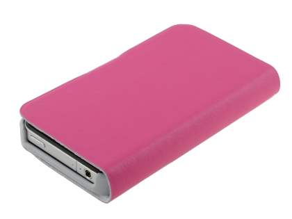 iPhone 4/4S Slim Genuine Leather Portfolio Case - Pink