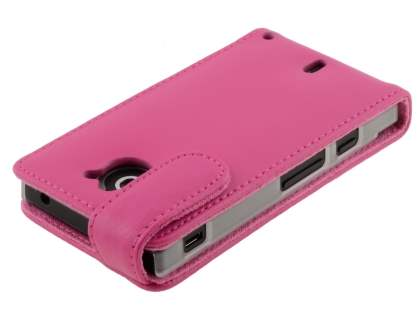 Sony Xperia Sola MT27i Genuine Leather Flip Case - Pink