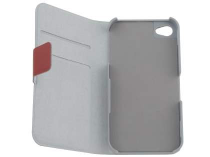 iPhone 4/4S Slim Genuine Leather Portfolio Case - Red