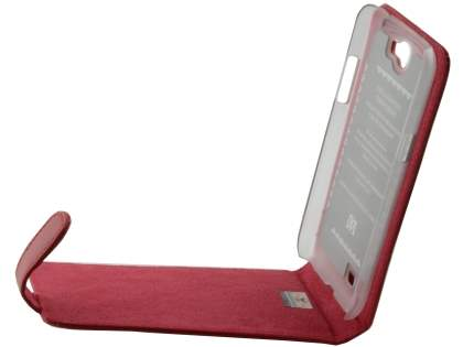 Genuine Leather Flip Case for Samsung Galaxy Note 2 4G - Red