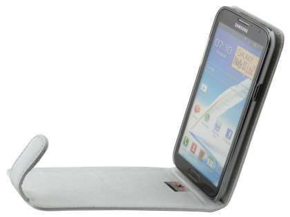 Genuine Leather Flip Case for Samsung Galaxy Note 2 4G - White