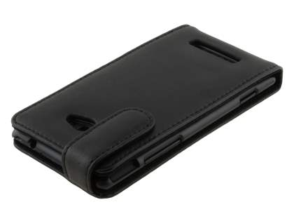 HTC Windows Phone 8X Genuine Leather Flip Case - Black