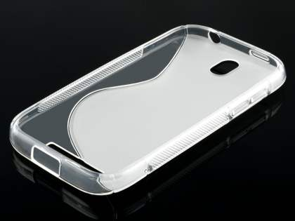 HTC One SV Wave Case - Frosted Clear/Clear