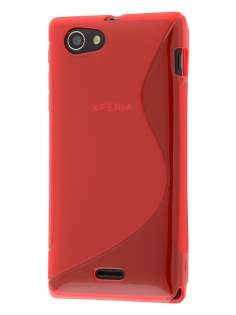 Wave Case for Sony Xperia J ST26i - Frosted Red/Red Soft Cover