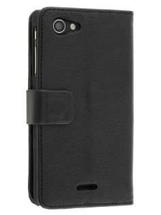 Synthetic Leather Wallet Case with Stand for Sony Xperia J ST26i - Classic Black Leather Wallet Case