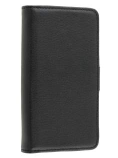 Synthetic Leather Wallet Case with Stand for Sony Xperia J ST26i - Classic Black