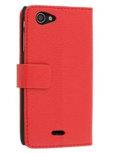 Synthetic Leather Wallet Case with Stand for Sony Xperia J ST26i - Red Leather Wallet Case