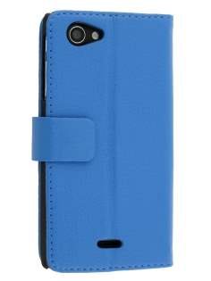 Synthetic Leather Wallet Case with Stand for Sony Xperia J ST26i - Blue Leather Wallet Case