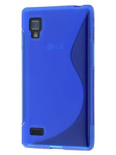 Wave Case for LG Optimus L9 P760 - Frosted Blue/Blue Soft Cover