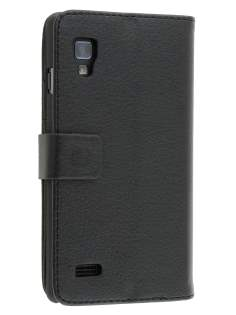 Synthetic Leather Wallet Case with Stand for LG Optimus L9 P760 - Classic Black Leather Wallet Case
