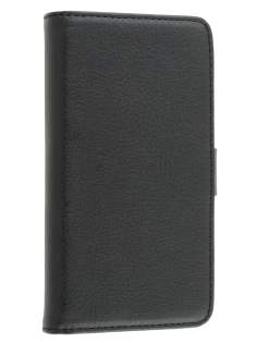 LG Optimus L9 P760 Slim Synthetic Leather Wallet Case with Stand - Classic Black