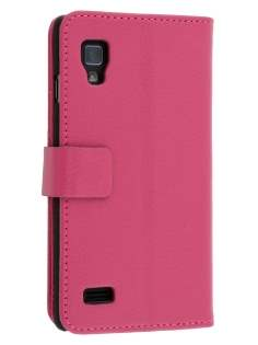 LG Optimus L9 P760 Slim Synthetic Leather Wallet Case with Stand - Pink Leather Wallet Case