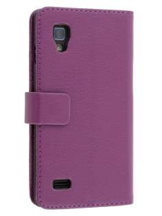 LG Optimus L9 P760 Slim Synthetic Leather Wallet Case with Stand - Purple Leather Wallet Case