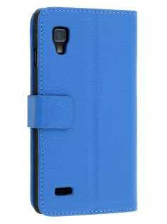 LG Optimus L9 P760 Slim Synthetic Leather Wallet Case with Stand - Blue Leather Wallet Case