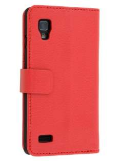 LG Optimus L9 P760 Slim Synthetic Leather Wallet Case with Stand - Red Leather Wallet Case