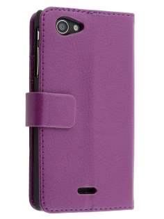 Sony Xperia J ST26i Slim Synthetic Leather Wallet Case with Stand - Purple