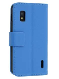 LG Nexus 4 E960 Slim Synthetic Leather Wallet Case with Stand - Blue Leather Wallet Case