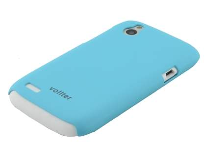 Vollter Ultra Slim Rubberised Case plus Screen Protector for HTC Desire X - Sky Blue