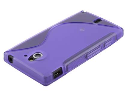 Wave Case for Sony Xperia Sola MT27i - Frosted Purple/Purple