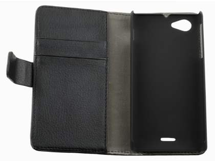 Sony Xperia J ST26i Slim Synthetic Leather Wallet Case with Stand - Classic Black