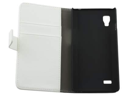 LG Optimus L9 P760 Slim Synthetic Leather Wallet Case with Stand - Pearl White