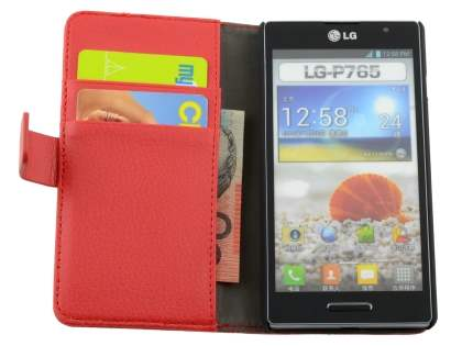 LG Optimus L9 P760 Slim Synthetic Leather Wallet Case with Stand - Red