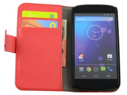 LG Nexus 4 E960 Slim Synthetic Leather Wallet Case with Stand - Red
