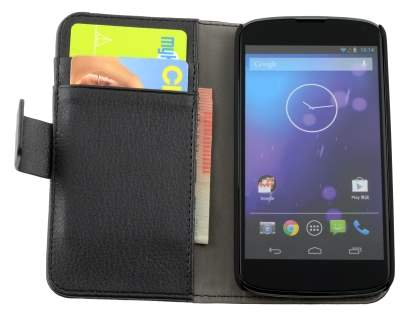 Synthetic Leather Wallet Case with Stand for LG Nexus 4 E960 - Classic Black