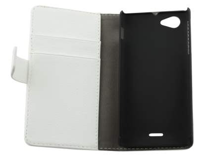 Sony Xperia J ST26i Slim Synthetic Leather Wallet Case with Stand - Pearl White